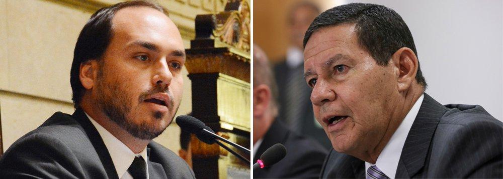 Ataques de Carlos Bolsonaro a Mourão são por conta do encontro do vice com Mangabeira Unger