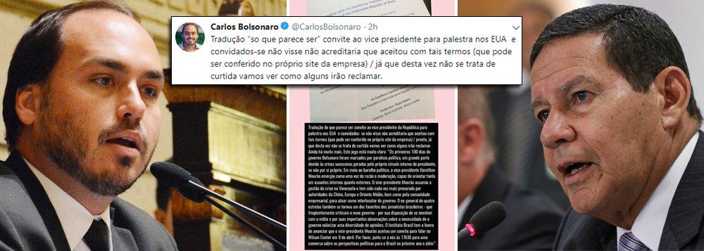 Com fiasco de Bolsonaro, Carlos se mostra paranóico em relação a Mourão