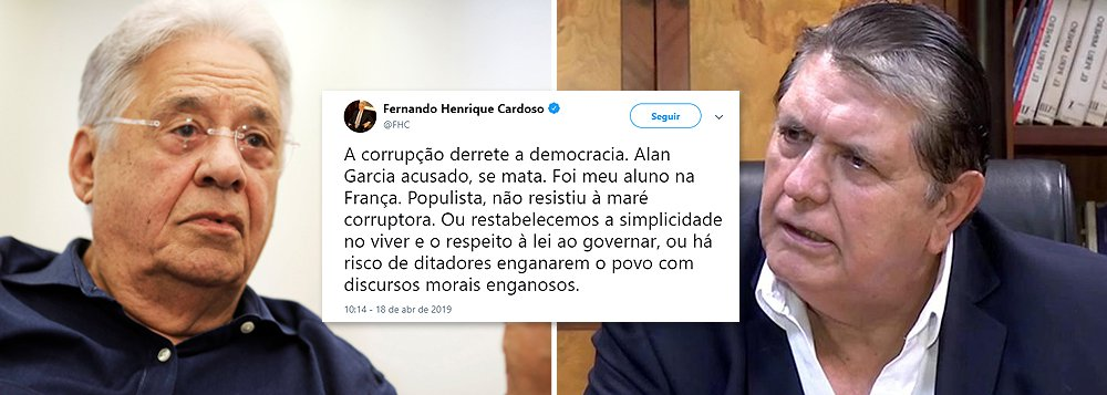 FHC acusa de corrupto ex-presidente peruano Alan García, que se matou