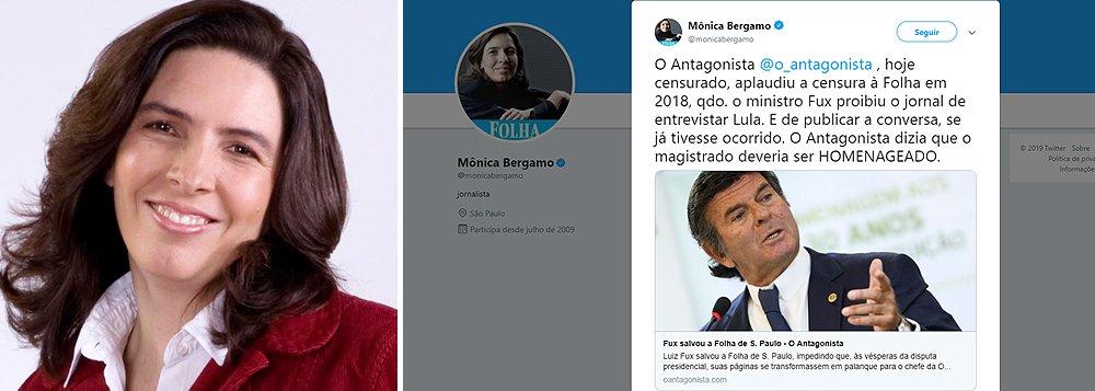Mônica Bergamo lembra que Antagonista já aplaudiu censura de Fux à Folha, que tentou entrevistar Lula