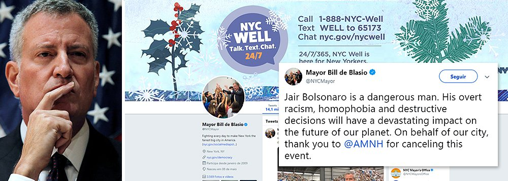 Prefeito de NY celebra cancelamento em museu e critica racismo e homofobia de Bolsonaro