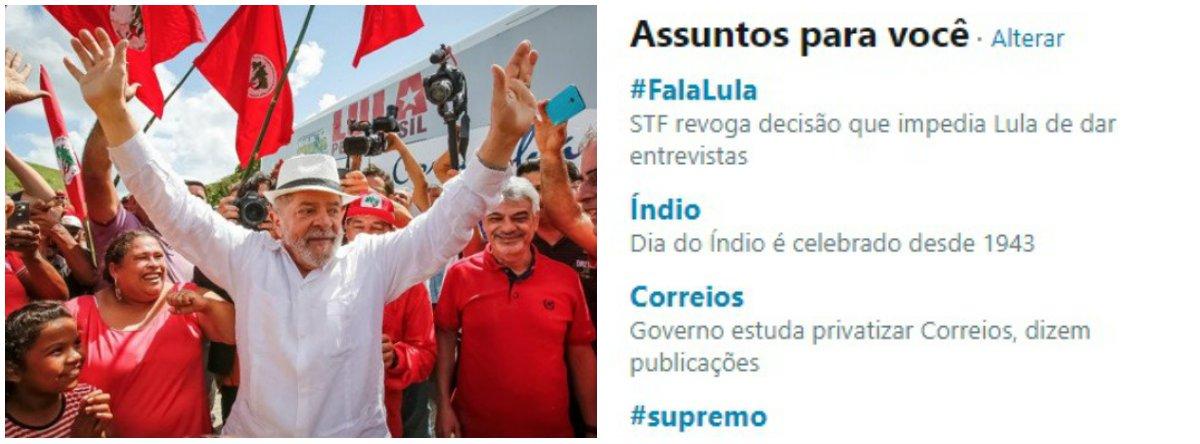 #FalaLula se torna o tema mais comentado nas redes