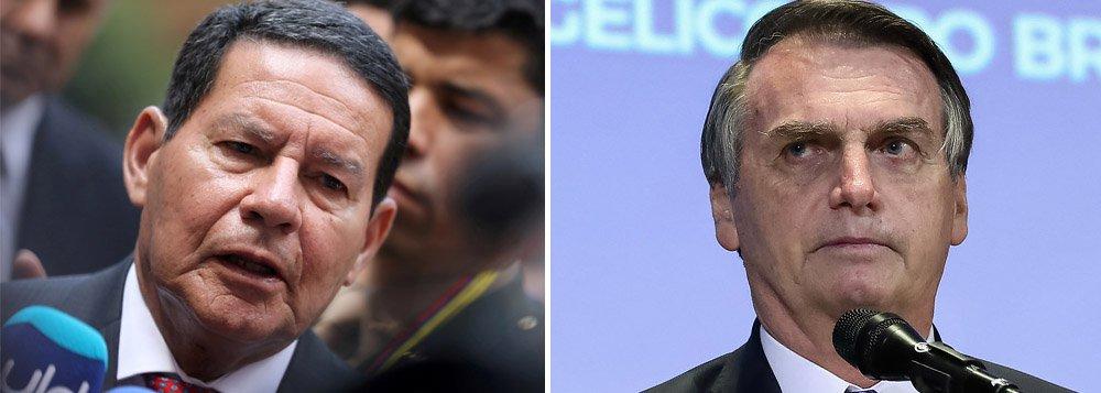 Mourão dispara contra Bolsonaro e diz que milícias devem ser enfrentadas