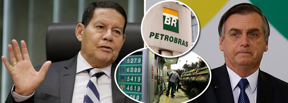 Mourão culpa Bolsonaro por nova política da Petrobrás