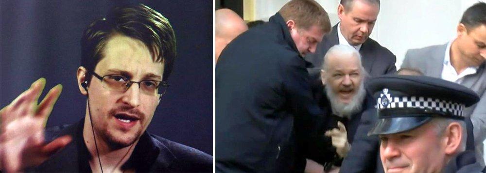 Snowden: imagem da prisão de Assange passa à história
