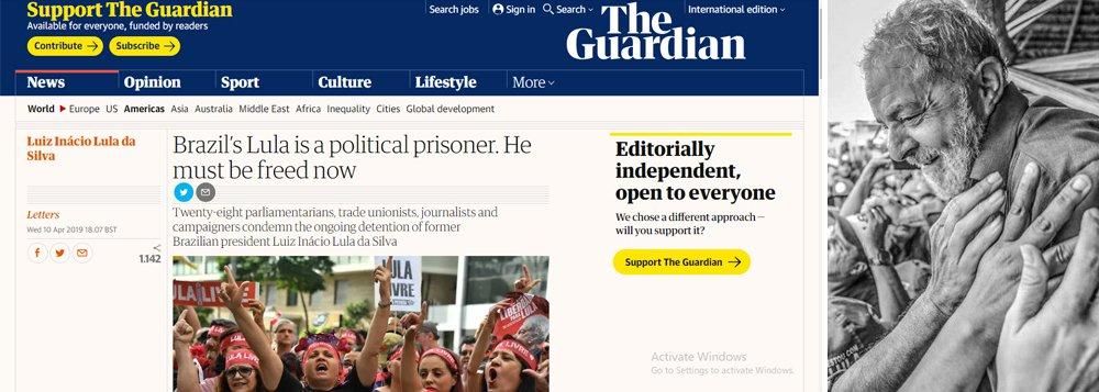 Lula é preso político e deve ser libertado, dizem parlamentares no Guardian
