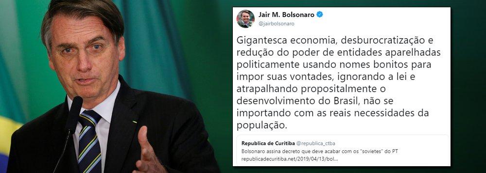 Bolsonaro despreza participação civil: atrapalha o desenvolvimento do País