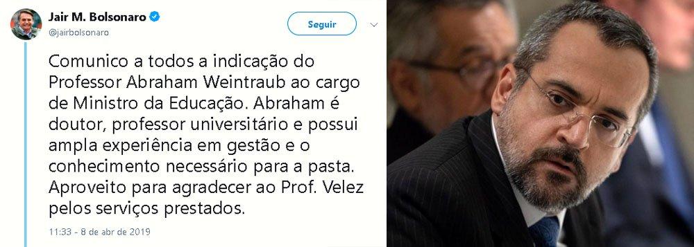 Bolsonaro espalha fake news sobre formação de Abraham Weintraub