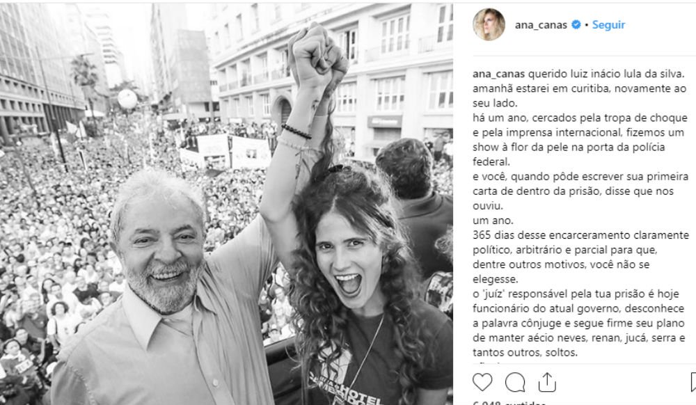 Ana Cañas: 'Lula, neste 7 de abril estaremos ao seu lado, segurando a sua mão, suas idéias e sua coragem'