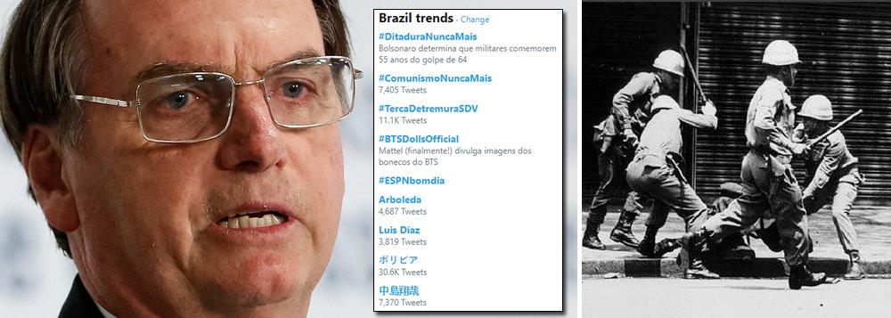 Brasil repudia Bolsonaro nas redes e 'ditadura nunca mais' bomba no Twitter
