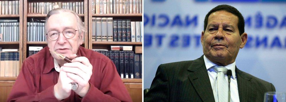 Guru de Bolsonaro, Olavo agride Mourão e o chama de idiota