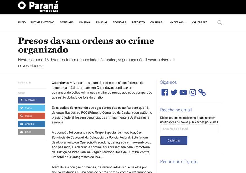 Jornalista recebe ameaça a partir de email do ministério da Justiça