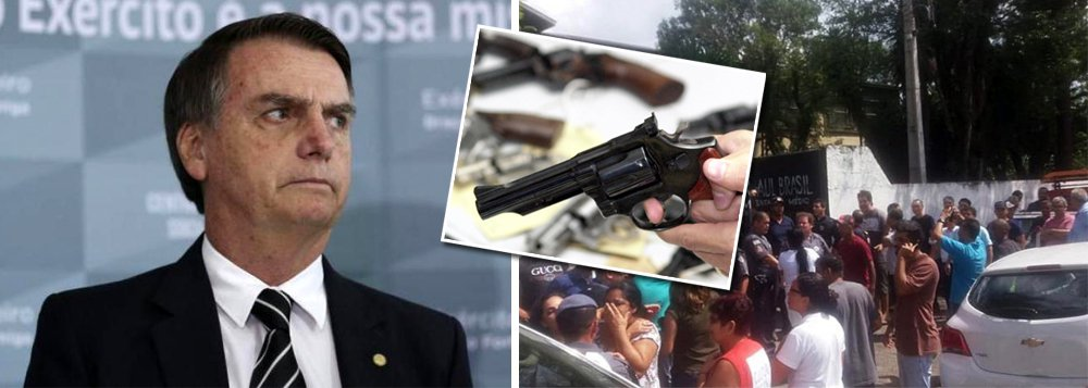 No mesmo dia de tragédia que deixou 10 mortos, Bolsonaro anuncia que vai flexibilizar porte de armas
