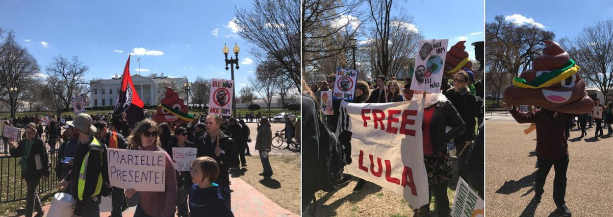 Americanos e brasileiros protestam contra Bolsonaro em Washington