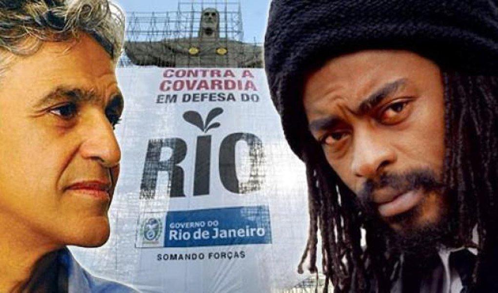 Caetano e Seu Jorge convocam massa para comício dos royalties