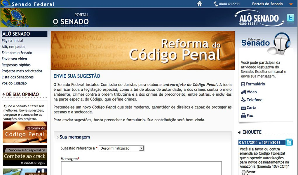 Reforma do Código Penal terá discussão pela internet