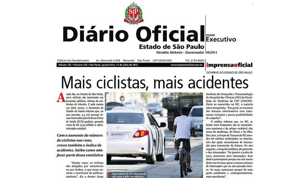 Matéria de capa do Diário Oficial de São Paulo revolta ciclistas
