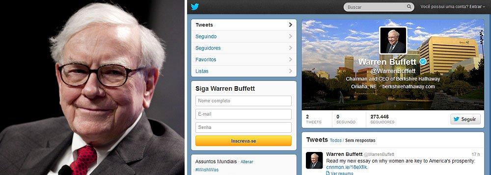No Twitter, Buffett ganha mil seguidores por minuto