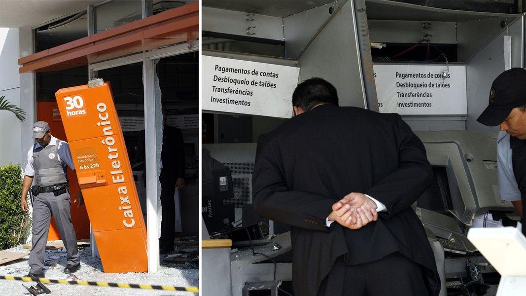 Quadrilha explode cinco caixas eletrônicos do Itaú em SP