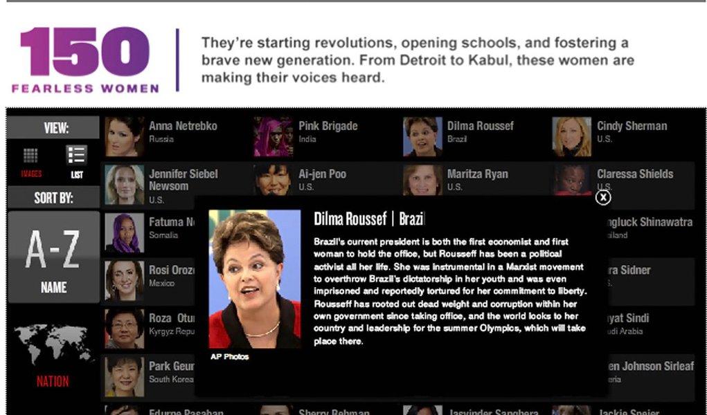 Dilma é uma das mulheres 'que abalaram o mundo'