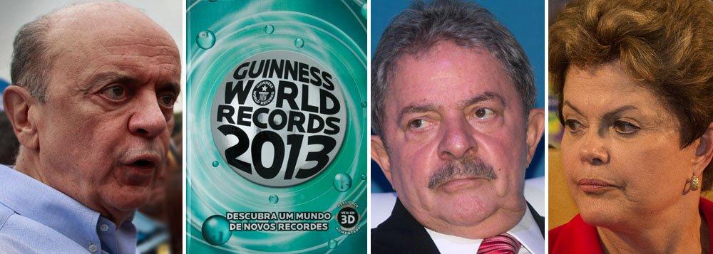 Furioso, Serra pede Lula no livros dos recordes