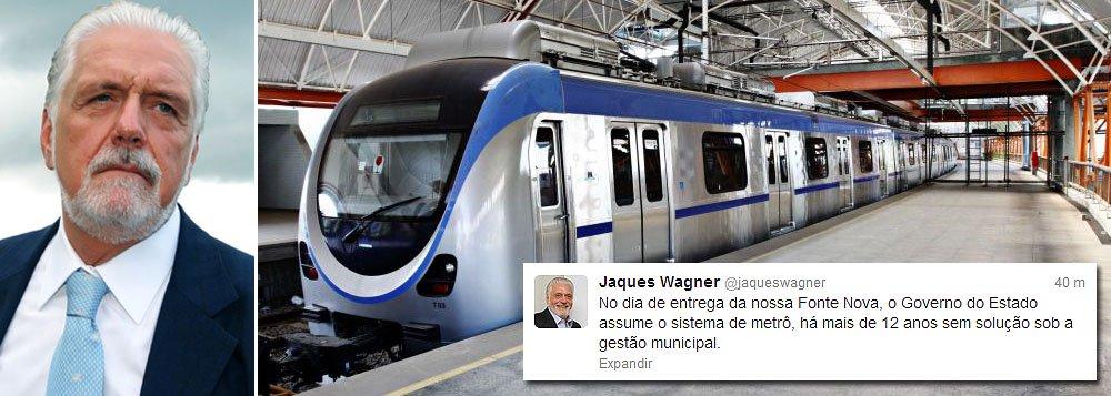 Wagner anuncia que assume metrô de Salvador