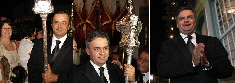 """Do altar de Minas, Aécio inicia """"maratona"""" nacional"""