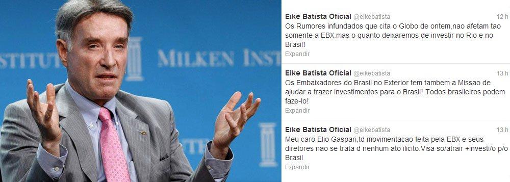 Pelo Twitter, Eike reage a críticas e ataca a imprensa