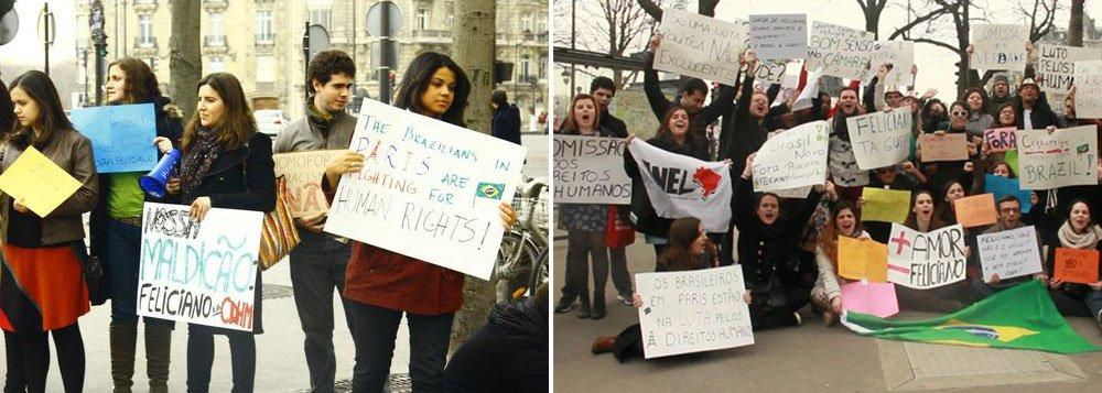 Brasileiros protestam em Paris contra Feliciano