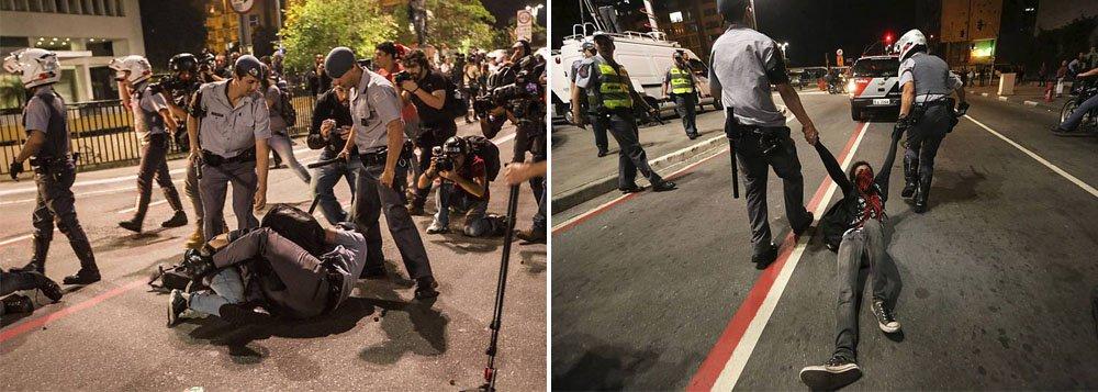 Vídeo: Jovem é arrastada por PMs em protesto