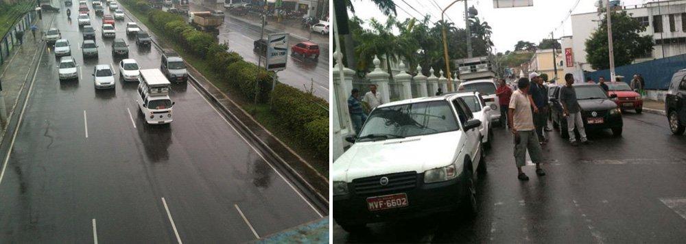Taxistas intermunicipais protestam contra fiscalização