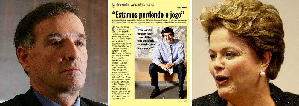 Sócio da Caixa, Esteves rifa em Veja Dilma e Eike