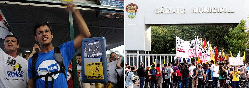 Manifestantes pedem tarifa zero em Florianópolis e Porto Alegre