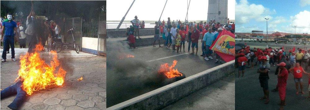 """MST fecha rodovias; Motu interdita ponte; """"Não Pago"""" queima João"""