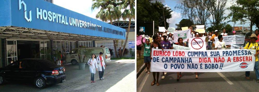 Servidores e estudantes protestam contra terceirização