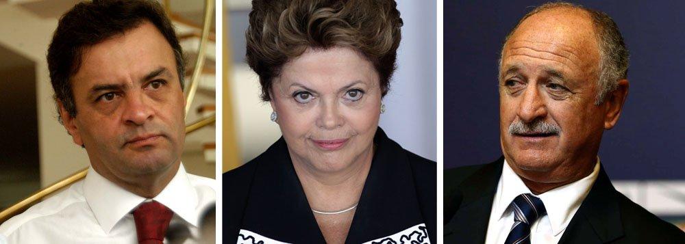 """Aécio volta a criticar """"Padrão Felipão"""" de Dilma"""
