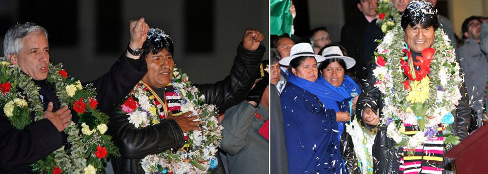 Morales é recebido por multidão na Bolívia