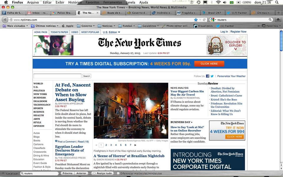 NY Times destaca tragédia de Santa Maria