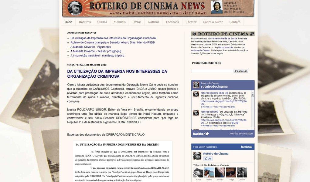 Roteiro de Cinema agrega todos os documentos da relação entre Cachoeira e a imprensa