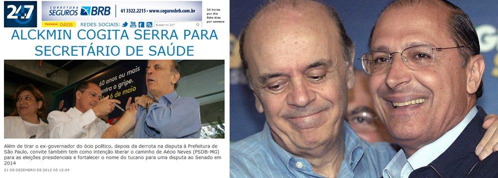 Alckmin dá Saúde a Serra, que quer presidir PSDB
