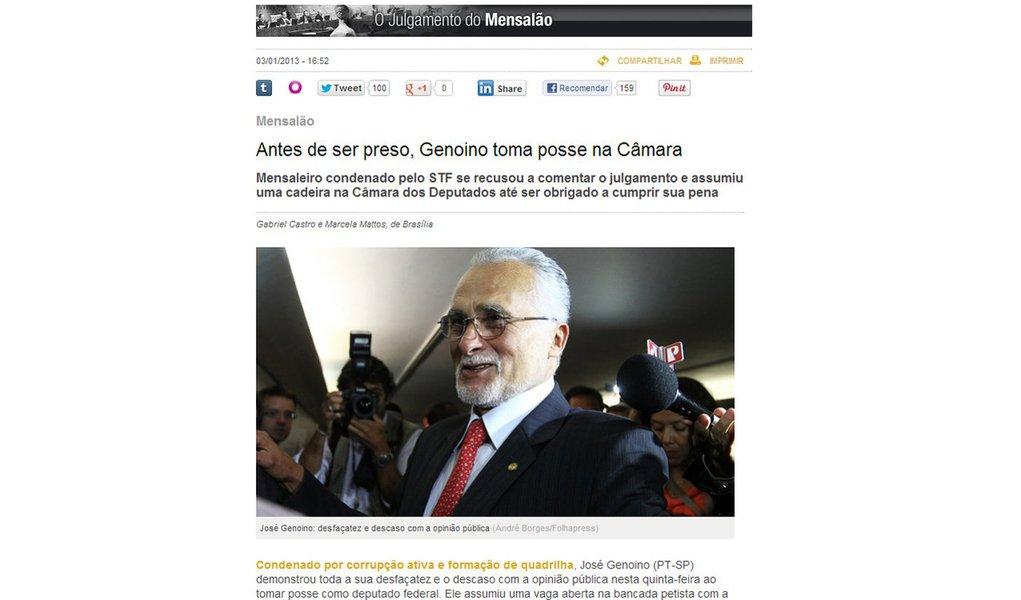 Reportagem de Veja expressa ódio a Genoino