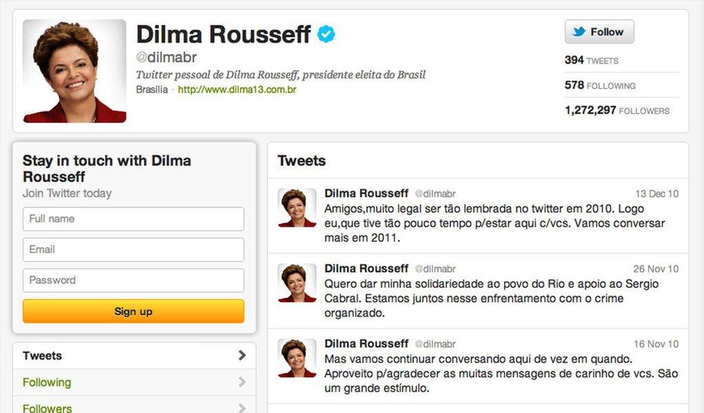 Inativa, Dilma é uma das mais influentes da política no Twitter