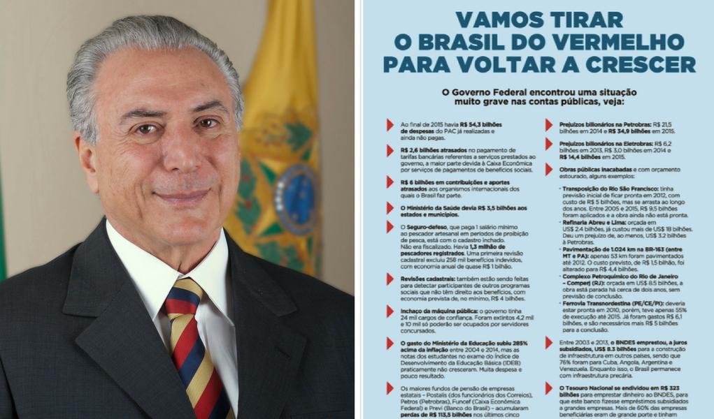 """Temer lança campanha com duplo sentido, para """"tirar o Brasil do vermelho"""""""