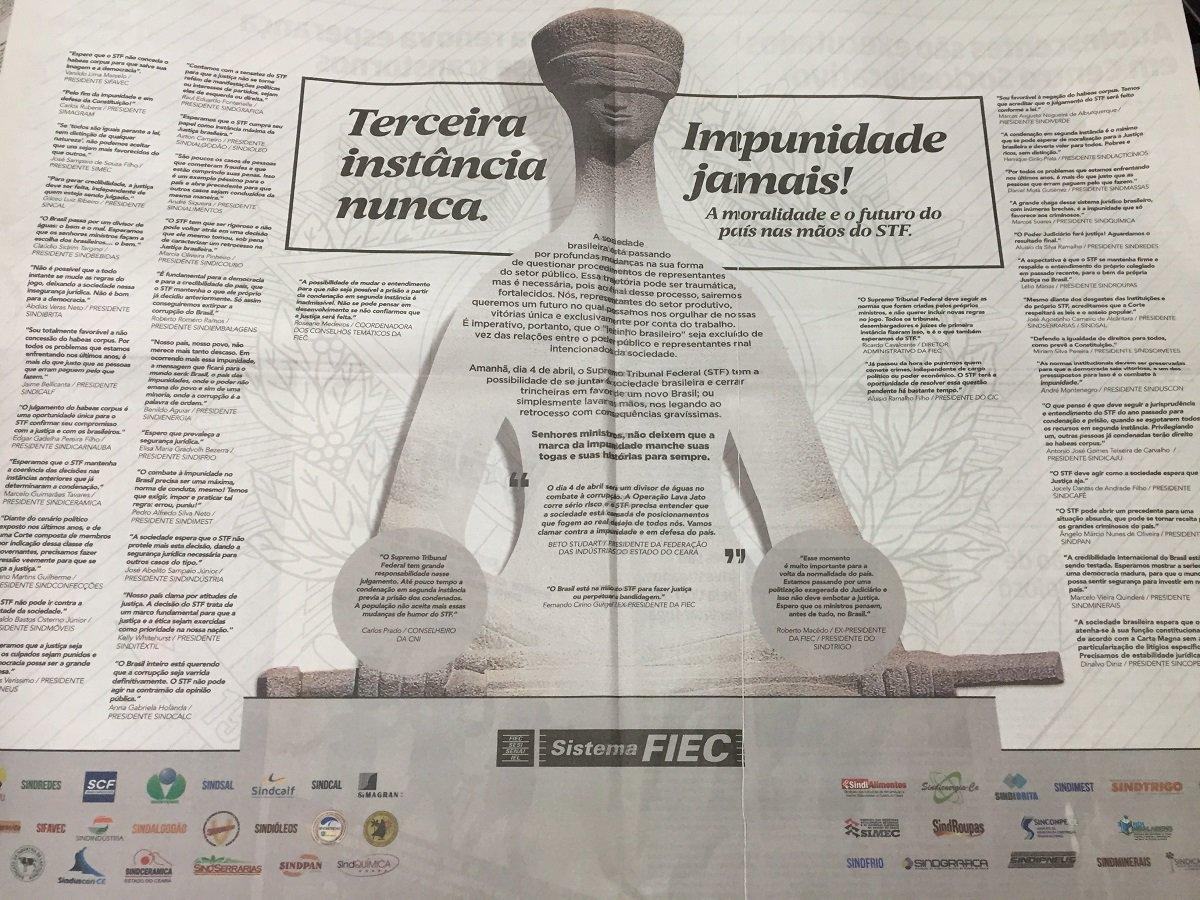 FIEC patrocina campanha nos jornais pressionando STF contra Lula