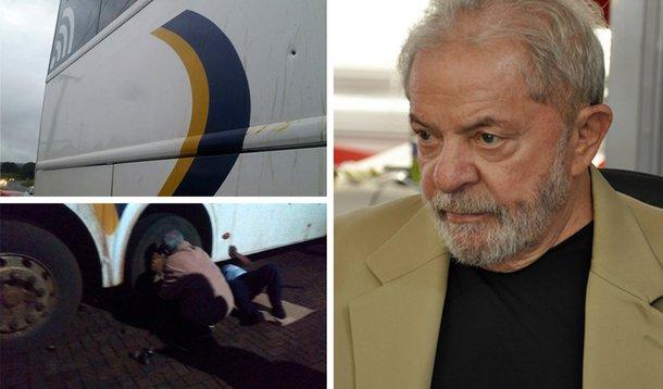 Ônibus de Lula na caravana foi atingido por tiros em 2018