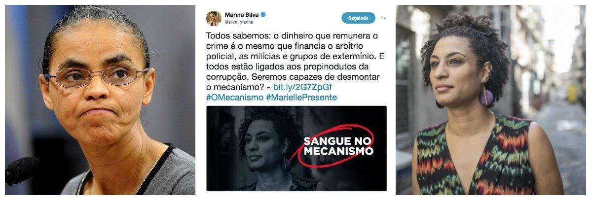 Marina apaga post em que misturou Marielle com O Mecanismo