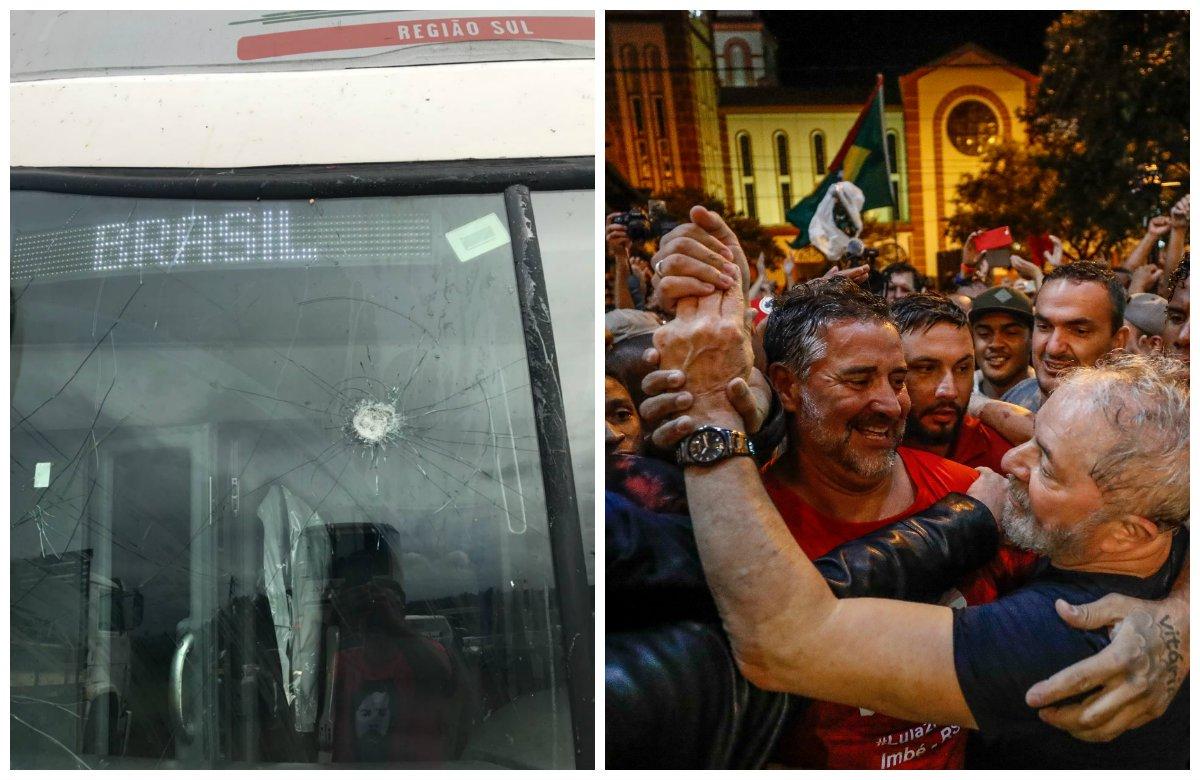 Fascistas atacam caravana de Lula sob risos da polícia catarinense