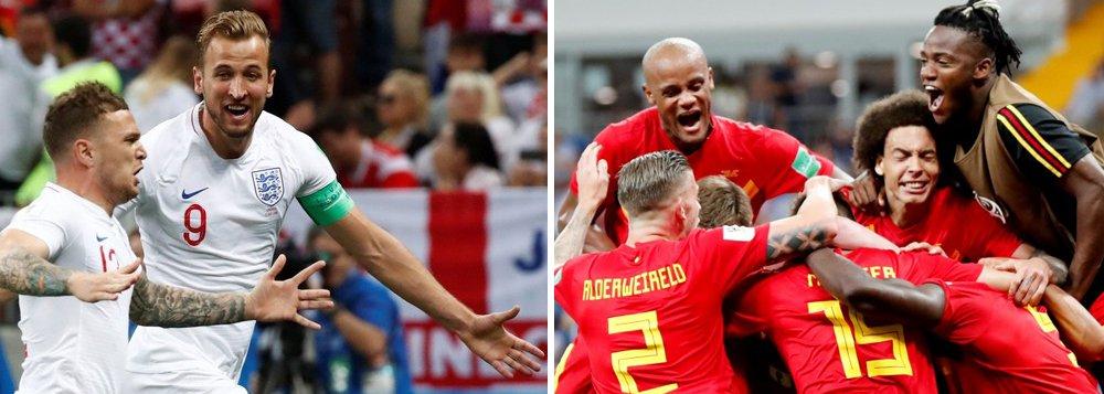Inglaterra e Bélgica voltam a campo pelo terceiro lugar da Copa