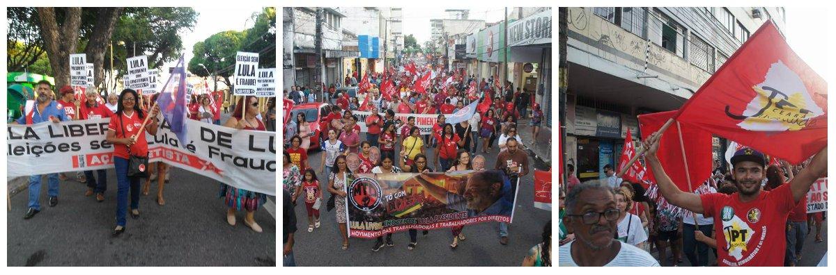 Em Fortaleza, centenas de manifestantes participam do Dia Nacional de Luta – Lula Livre