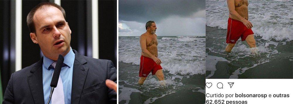 Filho de Bolsonaro curte foto de Lula sem camisa na praia
